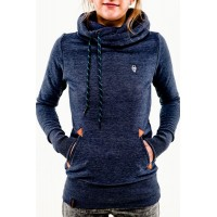 Stylish Hooded Long Sleeve Pocket Design Embroidered Hoodie For Women BLACK, DEEP GRAY, GREEN, LIGHT GRAY, PINK, PURPLISH BLUE