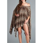 Stylish Leopard Printed 1/2 Batwing Sleeve Asymmetric Dress For Women