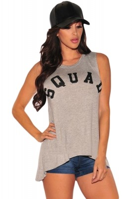 Stylish Letter Print Gray Tank Top