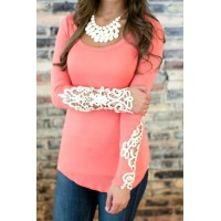 Stylish Long Sleeve Scoop Neck Lace Embellished T-Shirt For Women DEEP BLUE, GREEN, PINK
