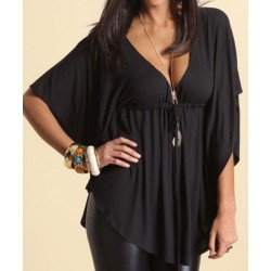 Stylish Loose-Fitting Plunging Neckline Solid Color 1/2 Sleeve T-Shirt For Women black