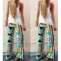 Stylish Mid-Waisted Geometric Print Loose-Fitting Pants For Women white yellow