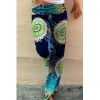 Stylish Mid-Waisted Printed Loose-Fitting Pants For Women blue