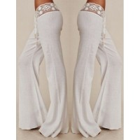 Stylish Mid-Waisted Waist Drawstring Laciness Spliced Pants For Women white