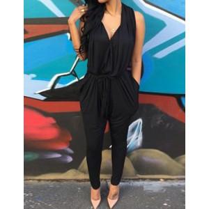 Stylish Plunging Neck Sleeveless Solid Color Pocket Design Harem Jumpsuit For Women black gray