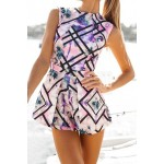 Stylish Round Collar Sleeveless Floral Print Romper For Women purple red white
