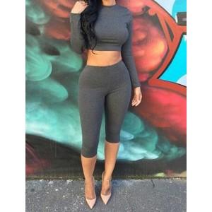 Stylish Round Neck Long Sleeve Blouse + Elastic Waist Pants Twinset For Women gray