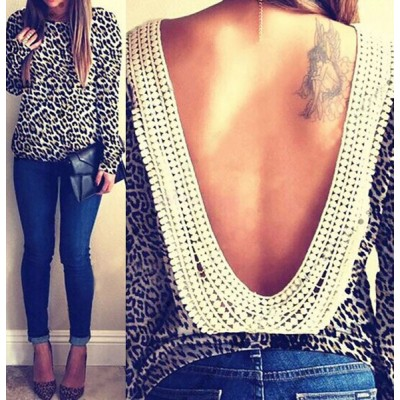 Stylish Round Neck Long Sleeve Leopard Print Backless Blouse For Women leopard