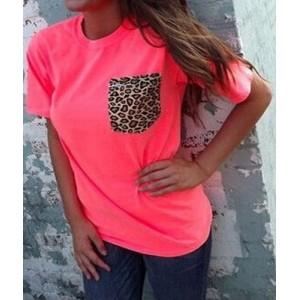 Stylish Round Neck Short Sleeve Leopard Print T-Shirt For Women pink