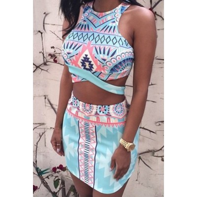 Stylish Round Neck Sleeveless Printed Crop Top + High-Waisted Skirt Twinset For Women blue red white