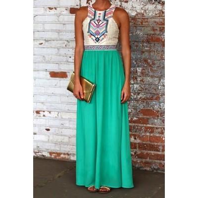 Stylish Round Neck Sleeveless Printed Spliced Dress For Women White green