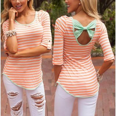 Stylish Scoop Collar Half Sleeve Striped Bowknot Design T-Shirt For Women GREEN, ORANGE
