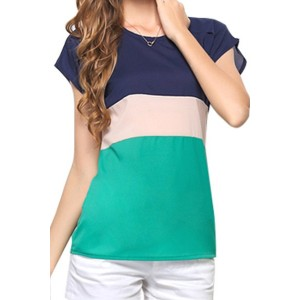 Stylish Scoop Collar Short Sleeve Color Block Chiffon Blouse For Women green red