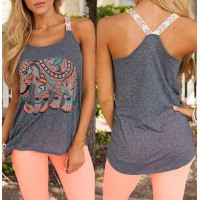 Stylish Scoop Collar Sleeveless Elephant Print Tank Top For Women gray pink