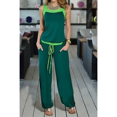 Stylish Scoop Neck Color Block Tank Top and Drawstring Chiffon Pants Suit For Women blue green purple