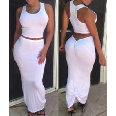 Stylish Scoop Neck Sleeveless Crop Top + Asymmetrical Skirt Twinset For Women white