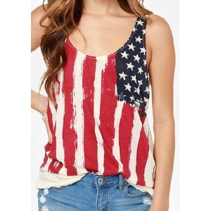 Stylish Scoop Neck Sleeveless Flag Print Tank Top For Women red white blue