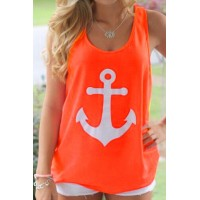 Stylish Scoop Neck Sleeveless Printed Bowknot Embellished Tank Top For Women orange pink white
