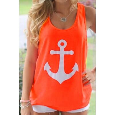 Stylish Scoop Neck Sleeveless Printed Bowknot Embellished Tank Top For Women orange pink white