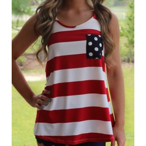 Stylish Scoop Neck Sleeveless Striped Bowknot Embellished Tank Top For Women red black