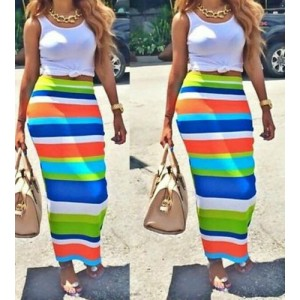 Stylish Scoop Neck Sleeveless Tank Top + High-Waisted Striped Skirt Twinset For Women white