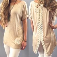 Stylish Short Sleeve Scoop Neck Lace Embellished T-Shirt For Women khaki