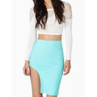 Stylish Solid Color Asymmetric Bodycon Skirt For Women blue