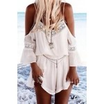 Stylish Spaghetti Strap 3/4 Sleeve Solid Color Spliced Romper For Women white