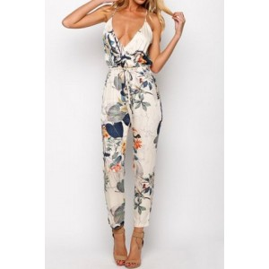 Stylish Spaghetti Strap Backless Floral Print Jumpsuit For Women
