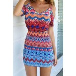 Stylish Spaghetti Strap Hollow Out Printed Bodycon Dress For Women blue red