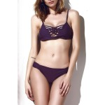 Stylish Spaghetti Strap Hollow Out Solid Color Bikini Set For Women purple