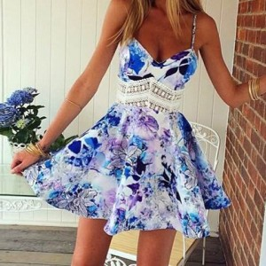 Stylish Spaghetti Strap Lace Splicing Floral Print Dress For Women white