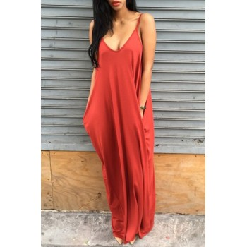 Stylish Spaghetti Strap Pocket Design Solid Color Dress For Women gray orange red