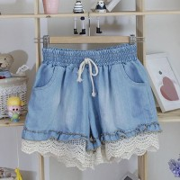 Stylish Splicing Stringy Selvedge Drawstring Denim Shorts For Women light blue