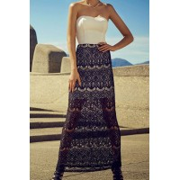 Stylish Strapless Sleeveless Dress + High-Waisted Lace Skirt Twinset For Women white black