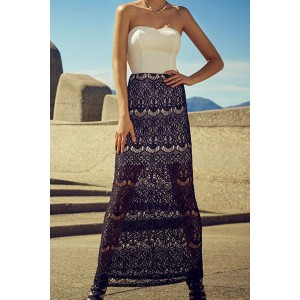 Stylish Strapless Sleeveless Dress + High-Waisted Lace Skirt Twinset For Women white black