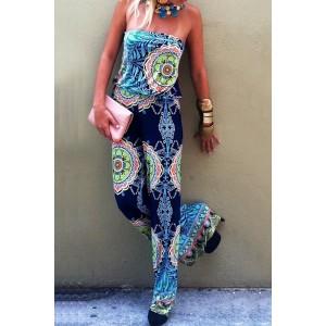 Stylish Strapless Sleeveless Printed Loose-Fitting Exuma Preppy Jumpsuit For Women black blue