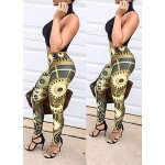 Stylish Turtle Neck Sleeveless Crop Top + High-Waisted Printed Pants Twinset For Women black gold