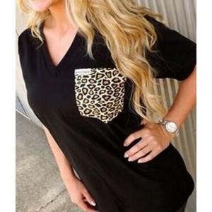 Stylish V-Neck Half Sleeve Leopard Print T-Shirt For Women black