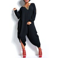 Stylish V-Neck Long Sleeve Cut Out Plus Size Jumpsuit For Women BLACK, GREEN, ORANGE, ROSE, WHITE