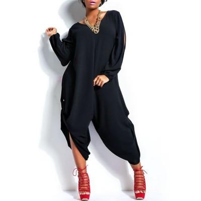 Stylish V-Neck Long Sleeve Cut Out Plus Size Jumpsuit For Women BLACK, GREEN, ORANGE, ROSE, WHITE