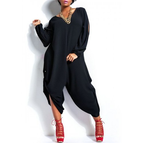 Stylish V Neck Long Sleeve Cut Out Plus Size Jumpsuit For Women