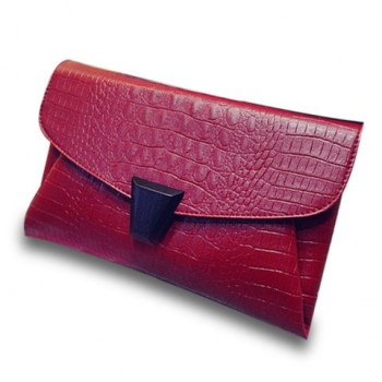 Stylish Women's Clutch Bag With PU Leather and Crocodile Print Design black blue red white