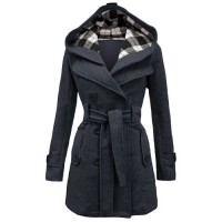 Stylish Women's Hooded Double-Breasted Long Sleeve Worsted Coat BLACK, DEEP GRAY, LIGHT GRAY, OFF-WHITE, PURPLE, RED, SAPPHIRE BLUE