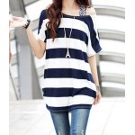 Stylish Women's Scoop Neck Striped Short Sleeve T-Shirt deep blue