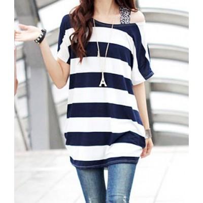 Stylish Women's Scoop Neck Striped Short Sleeve T-Shirt deep blue
