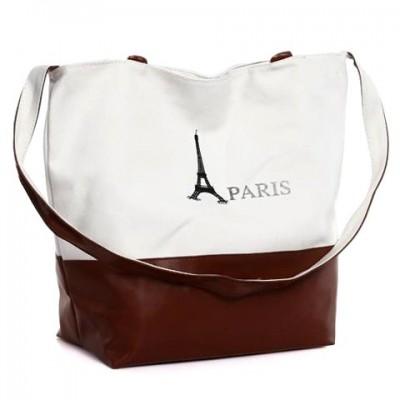 Stylish Women's Shoulder Bag With Color Block and Canvas Desgin black brown