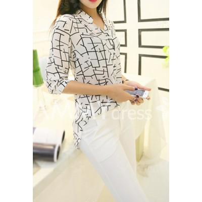 Stylish Women's Stand Collar 3/4 Sleeve Chiffon Blouse stripe