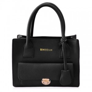 Stylish Women's Tote Bag With Solid Color and Push-Lock Frame Design BLACK, GRAY, PINK, PURPLE