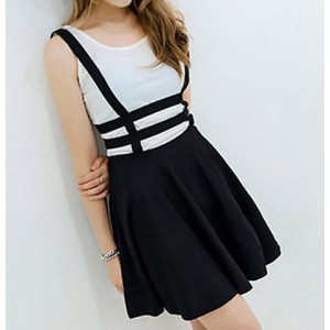Stylish Women's Zippered Hollow Out Black Suspender Skirt black